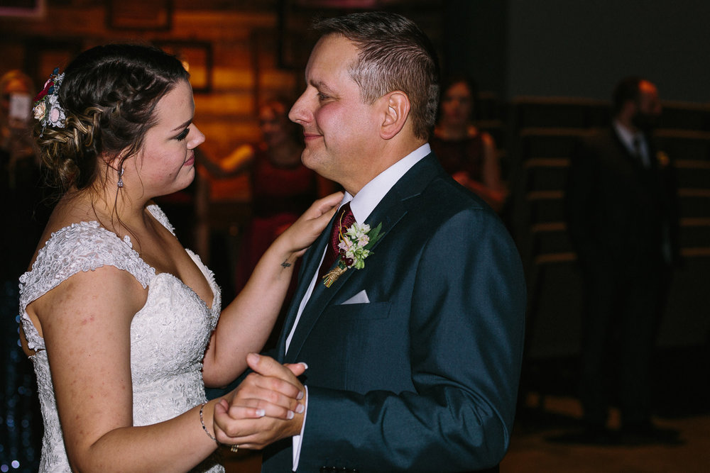 Father Daughter dance winter wedding reception in Utah