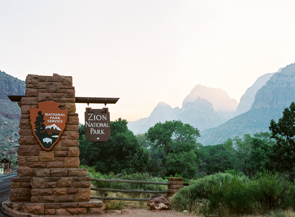 Zion National Park Entrance sign on fine art film at sunrise