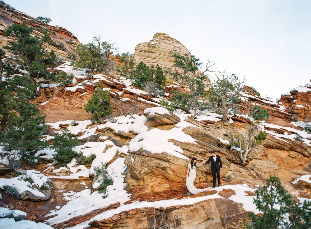 Zion National Park Winter Elopement Utah Film Photographer