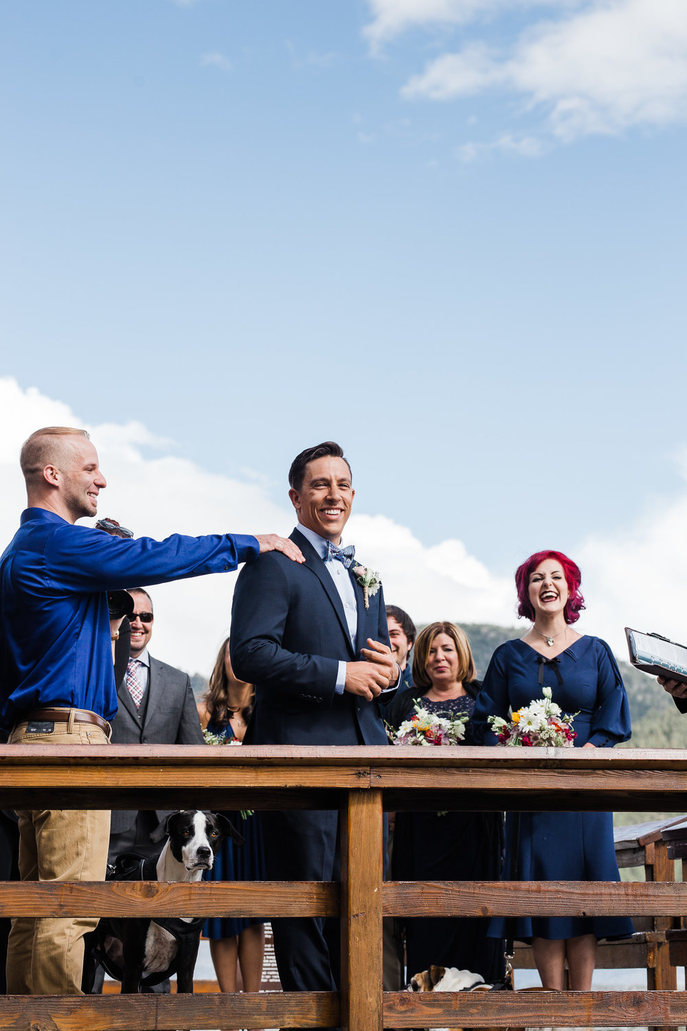 Grooms reaction seeing the bride at the ceremony Estes Park Colorado