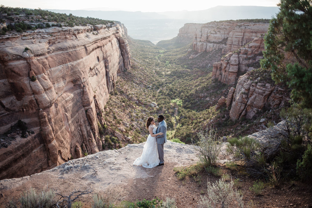 Wedding couple day after adventure portraits in the Colorado National Monument