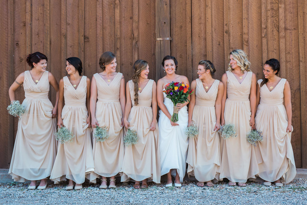 Bridesmaids and bride group portrait