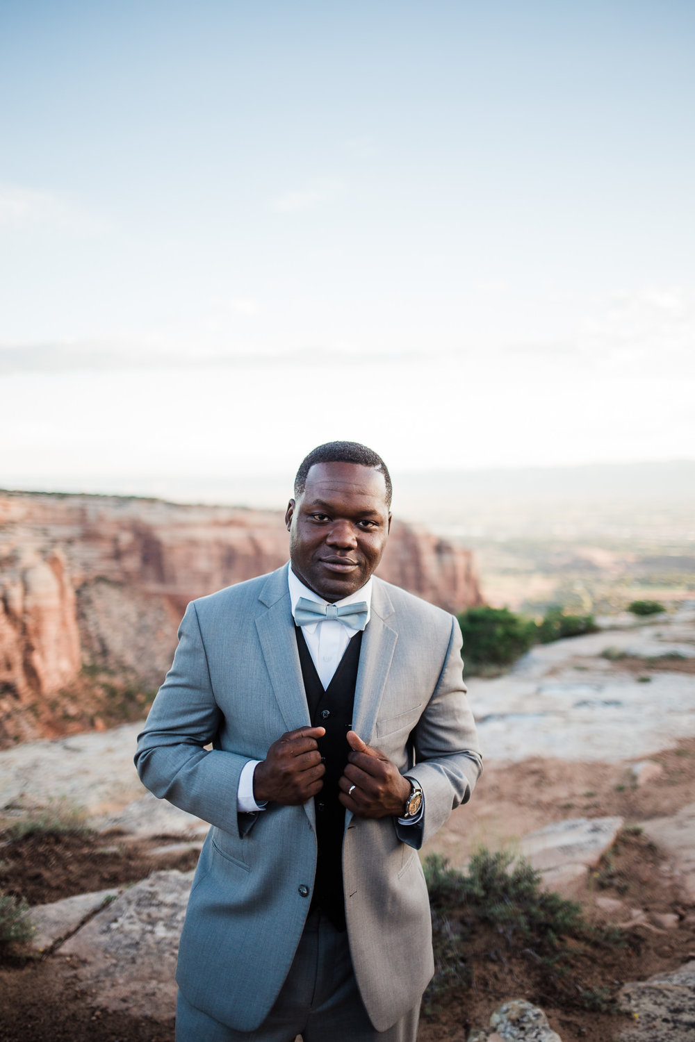 Classy African American Groom in Colorado National Monument Wedding portraits