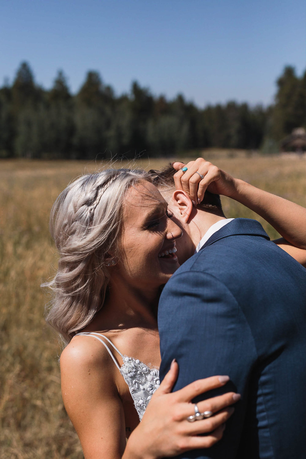 Intimate wedding portraits at high noon in Wyoming