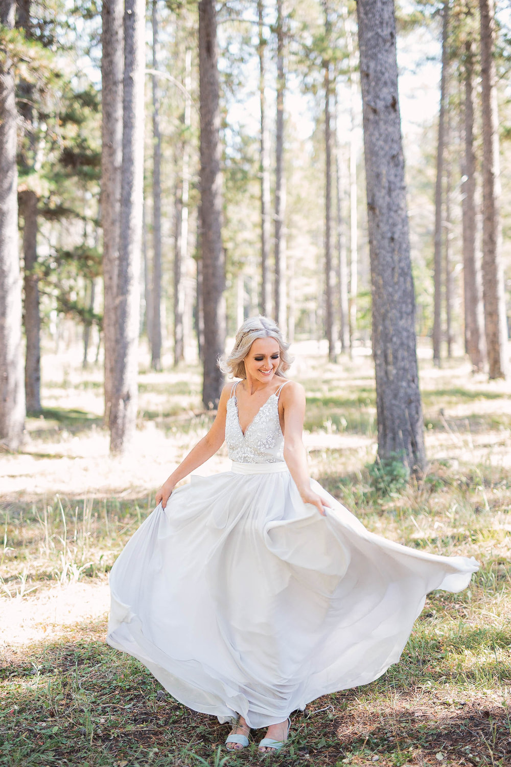 Gorgeous bride in Truvelle Bridal dress Wyoming Wedding