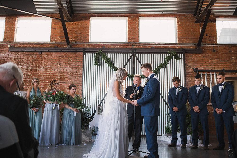 Industrial old hangar wedding ceremony