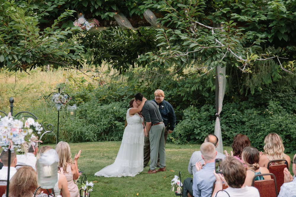 First Kiss Intimate Wedding Washington Cabin