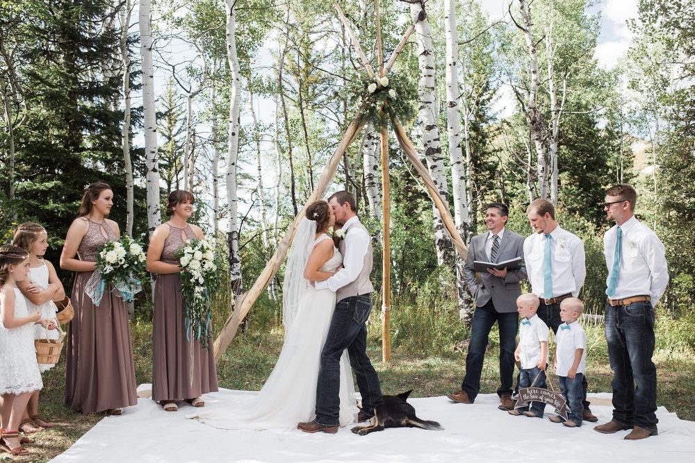 First Kiss Teepee Mountain Boho wedding