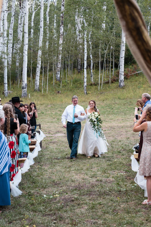 Father Bride Ceremony Mountain Aspen