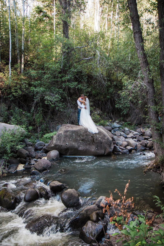 Bride Groom Mountain Forest Elopement