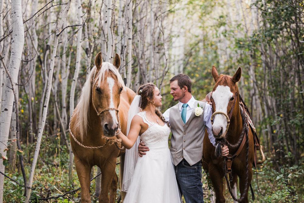 Country Horse Bride Groom Mountain Wedding
