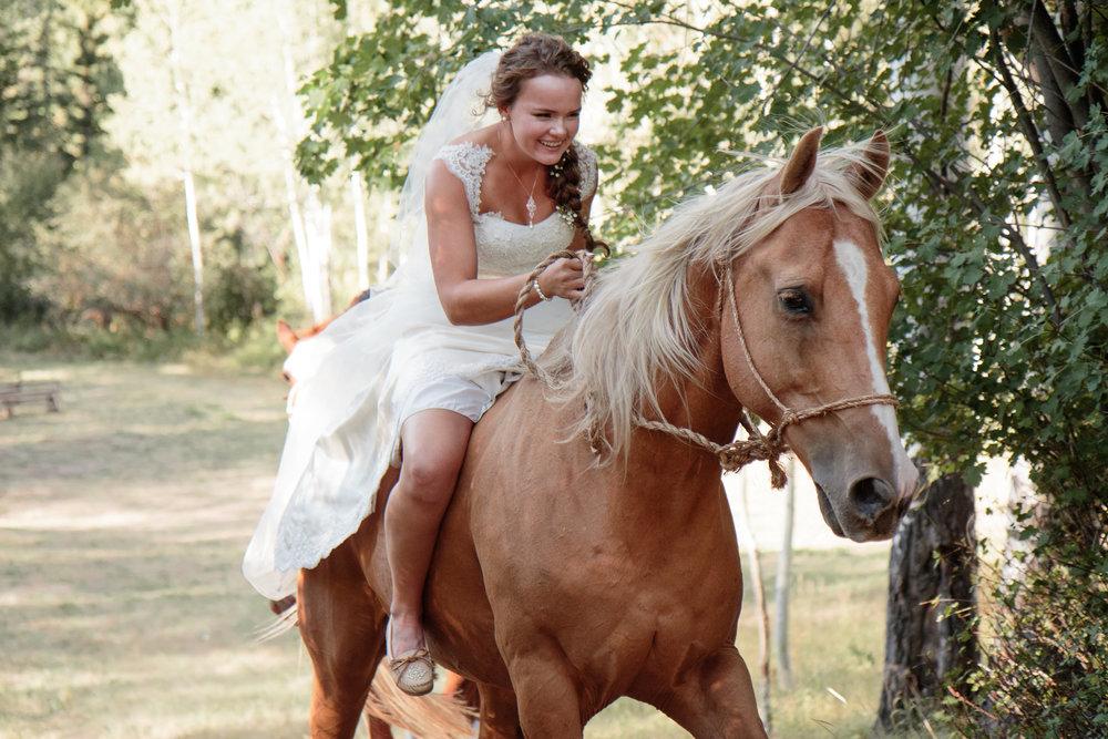 Bride Horse Ceremony Country Boho wedding