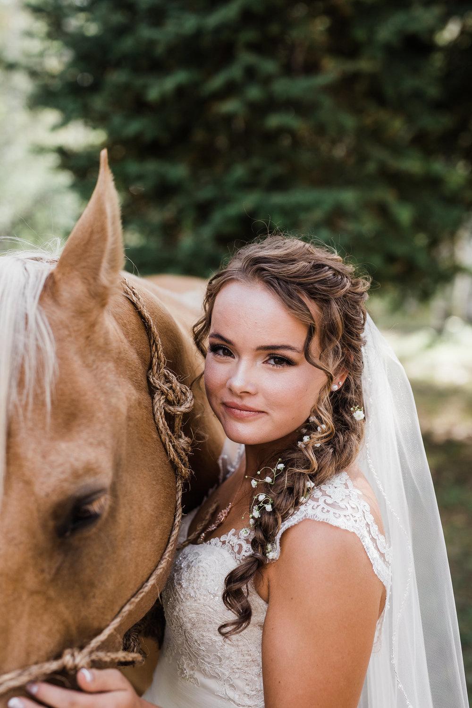Bride Horse Portrait Intimate Wedding