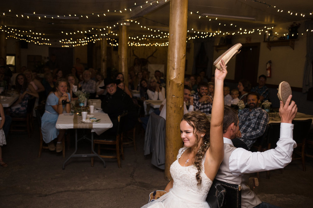 Shoe Game Bride Groom Mountain Cabin Reception