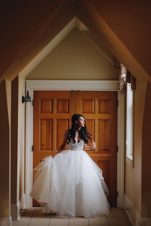 Indoor fine art bride portrait Flying Horse Ranch Colorado wedding