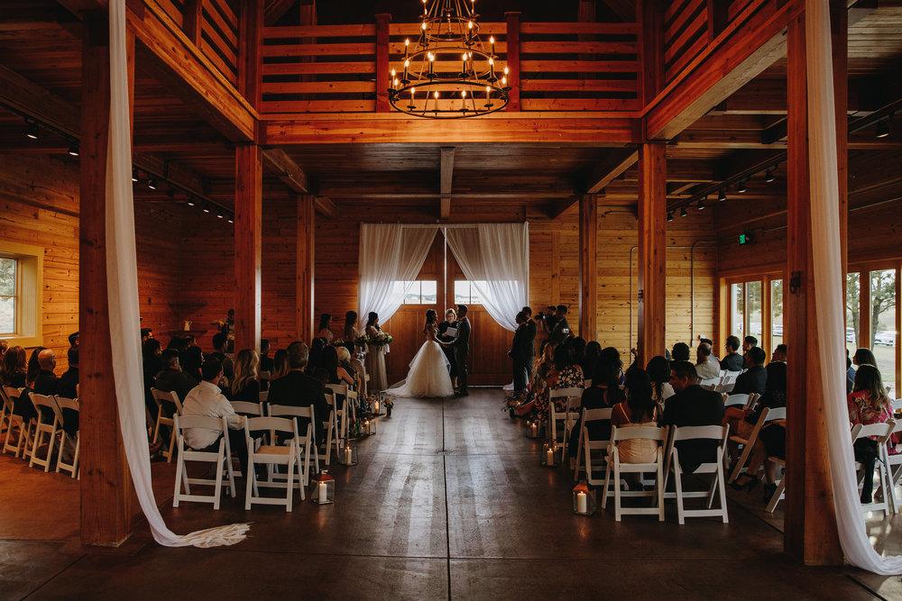 Wedding ceremony at Flying Horse Ranch in Colorado
