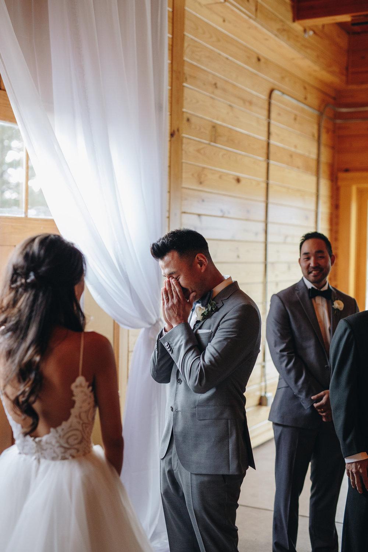 Groom first look reaction Colorado Wedding