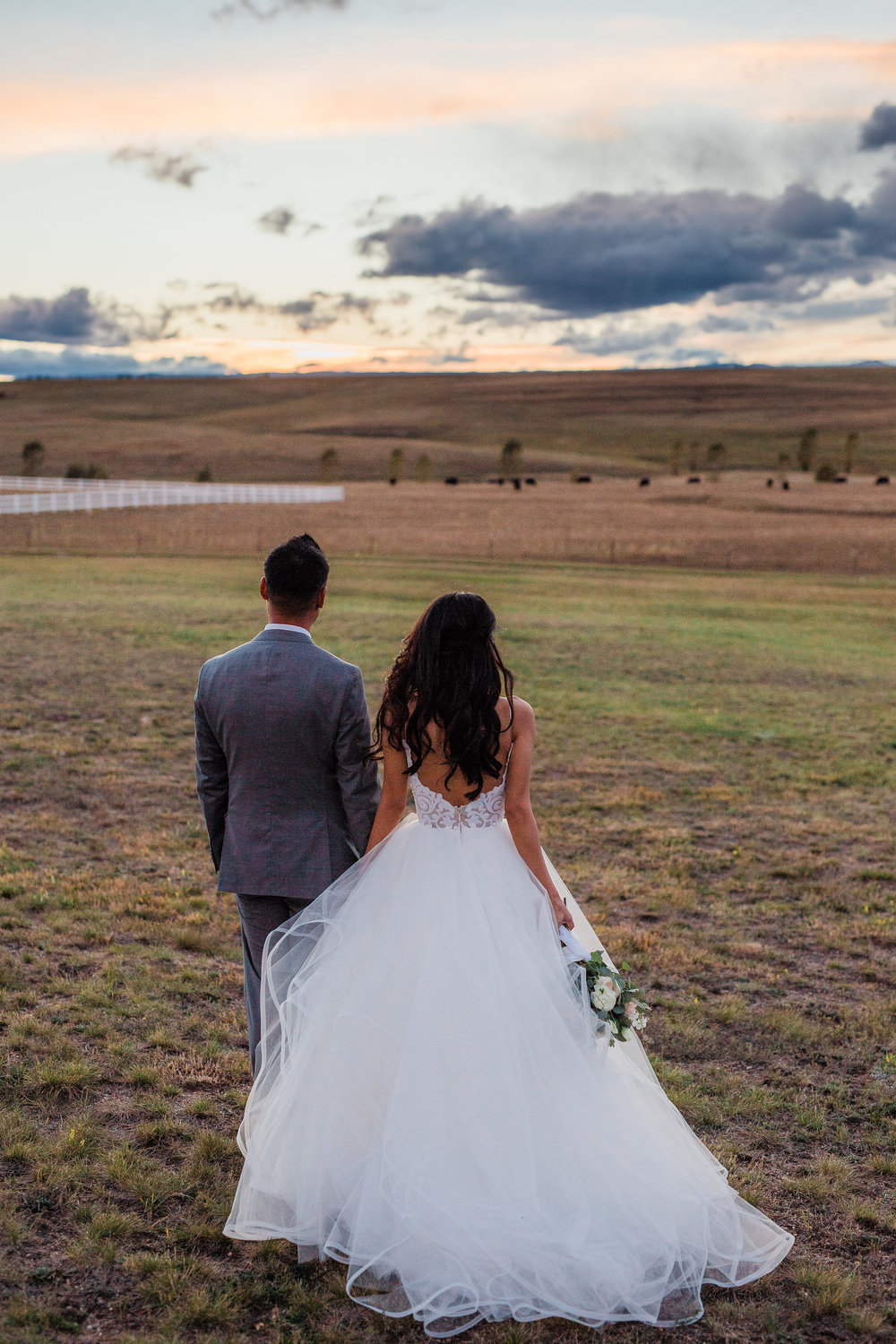 Sunset portraits on wedding day in Colorado