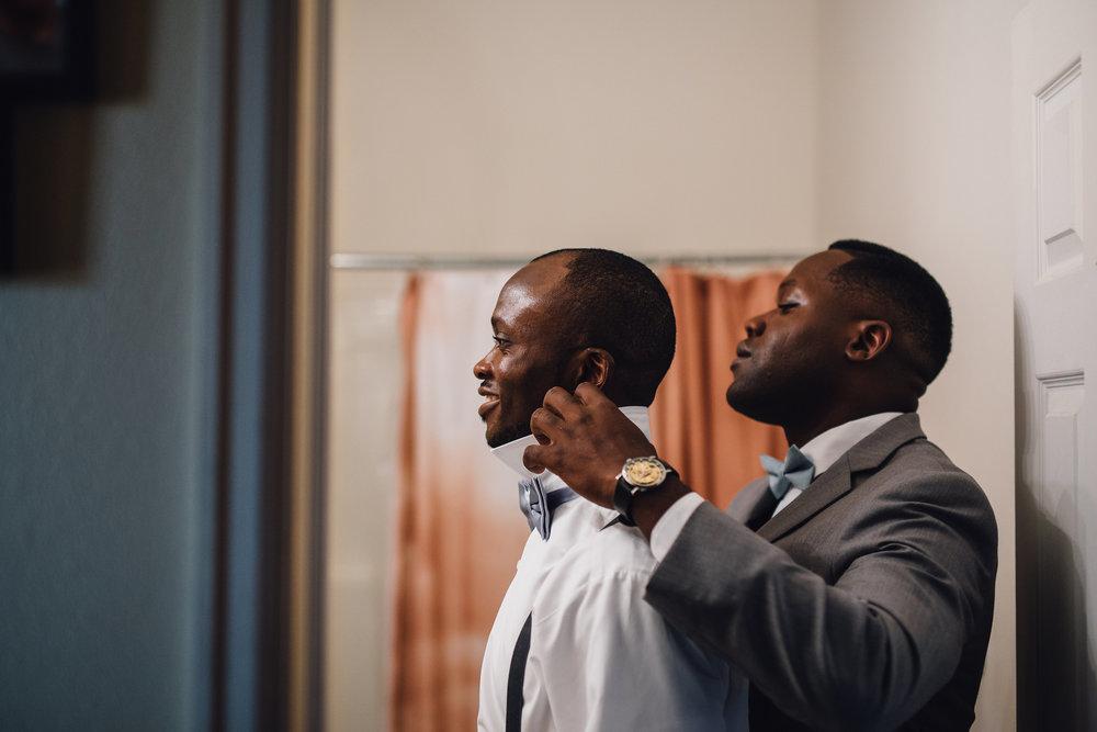 African-American Groom and Groomsmen Getting ready