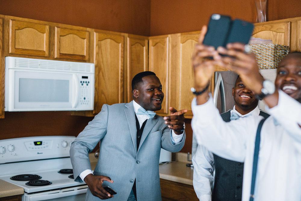 African-American Groom with his groomsmen