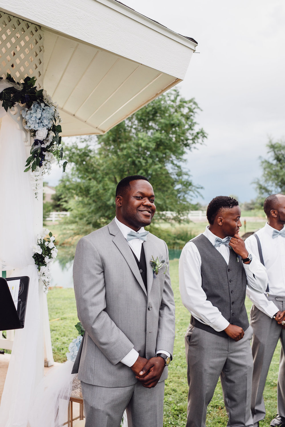 African-American Groom waiting for his bride