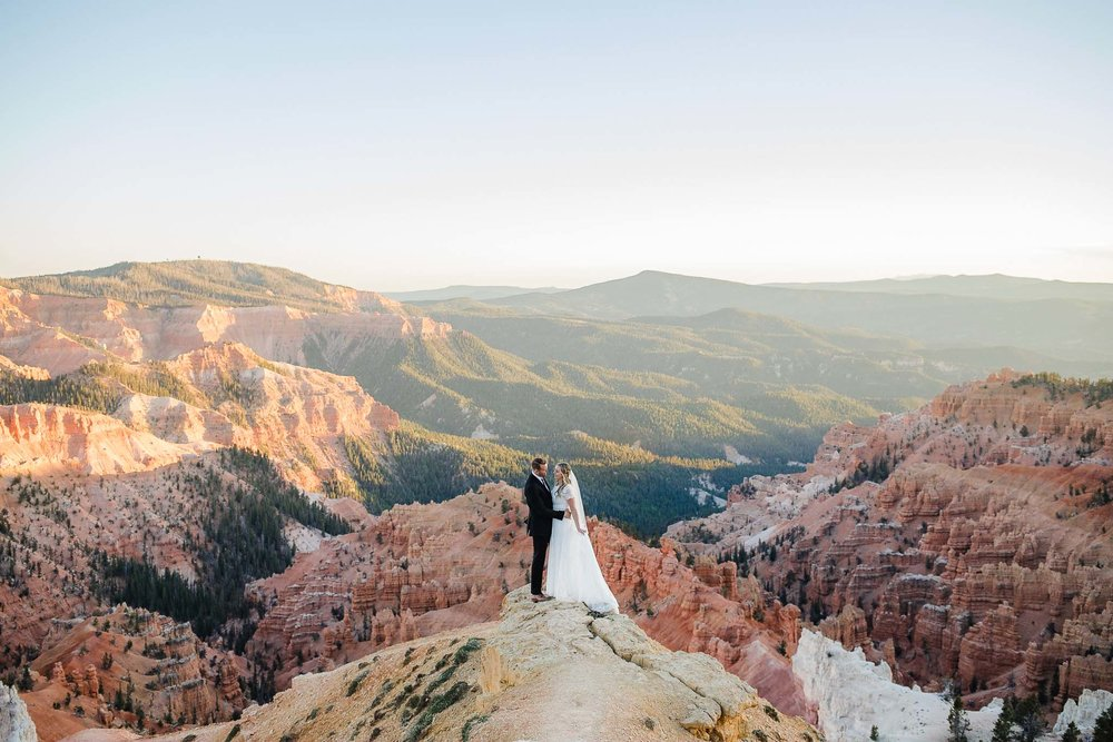 Bride and Groom portrait at sunset at Cedar Breaks National Monument, Utah