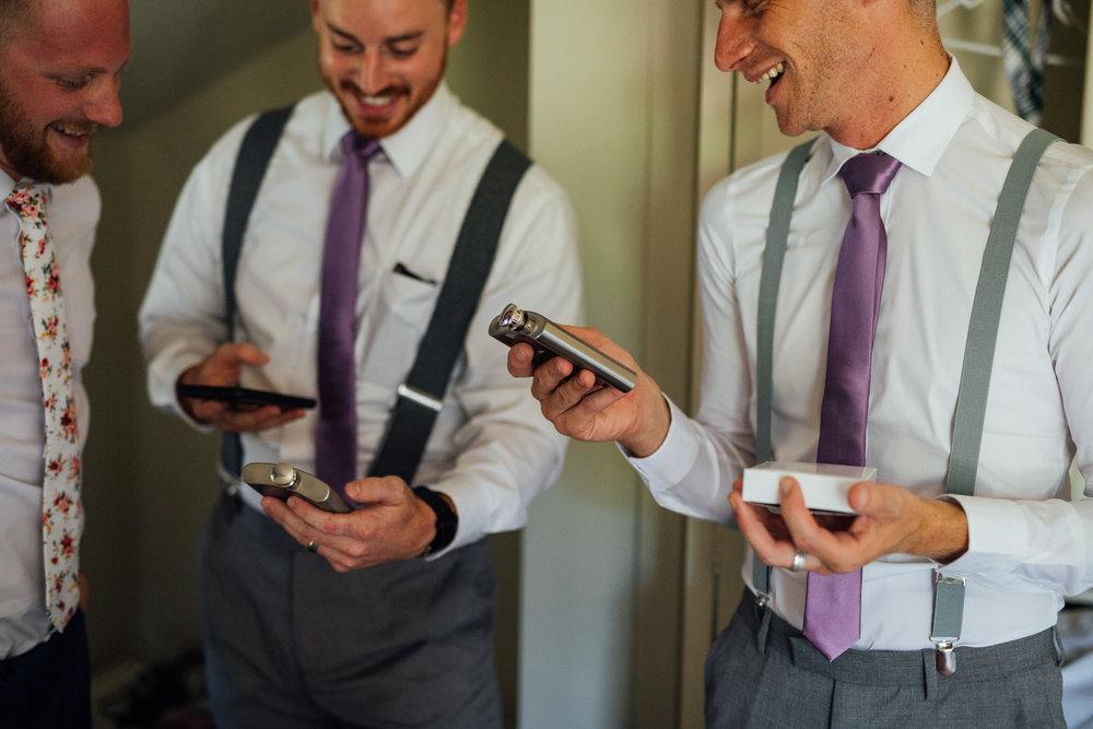 Groomsmen getting ready on wedding day