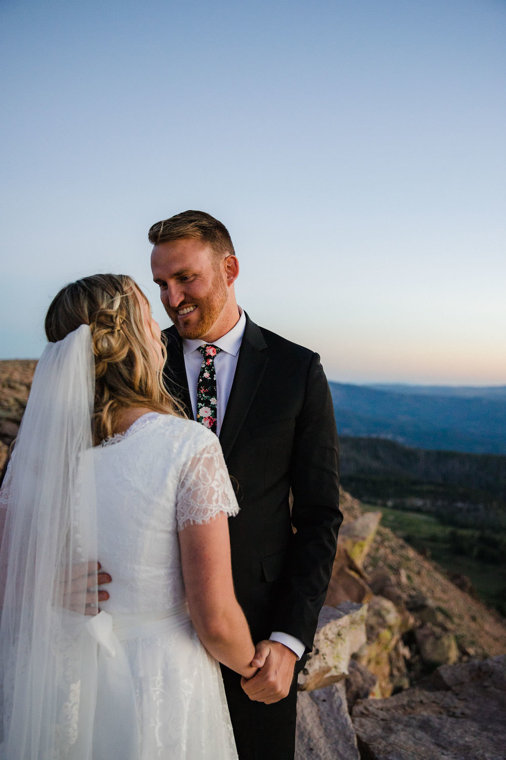 Bride and Groom pose for wedding portraits in Cedar Breaks National Monument