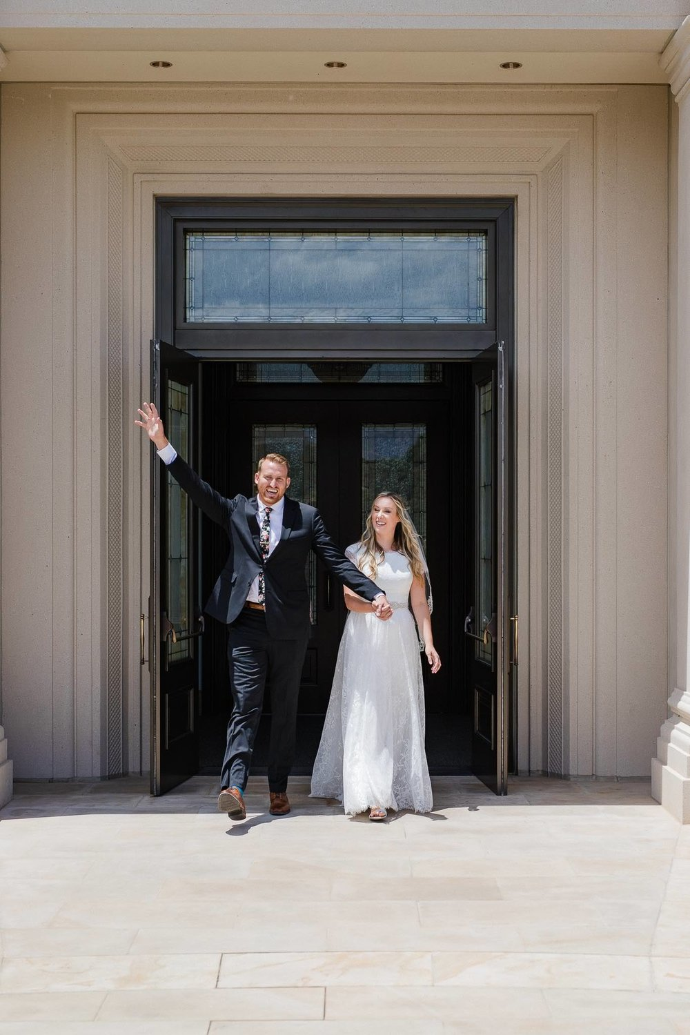 Bride and Groom exit the Cedar City Temple