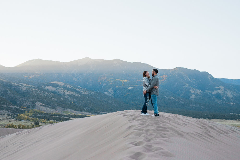 Sunrise Engagement Session at Great Sand Dunes National Park in Colorado