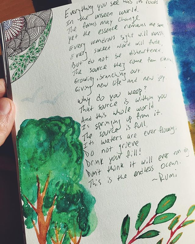 Favorite poem + doodles 🌳🧡 . . . #creativepractice #rumi #happylittletrees #journal #multipotentialite #creativity
