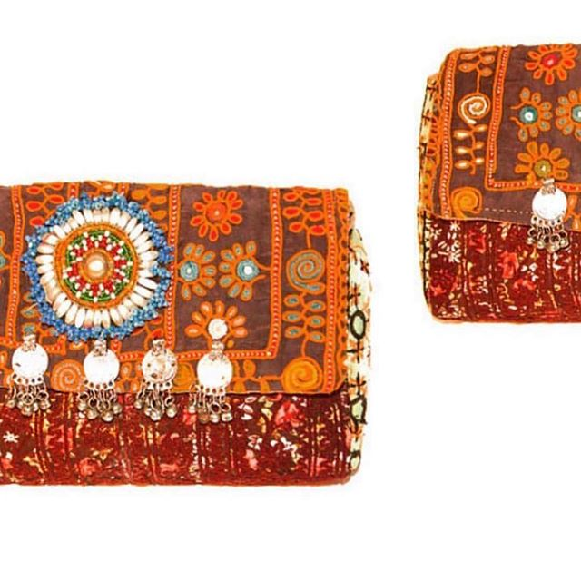 Hand-embroidered clutches from Rajasthan 🌿 www.tuluandblue.com