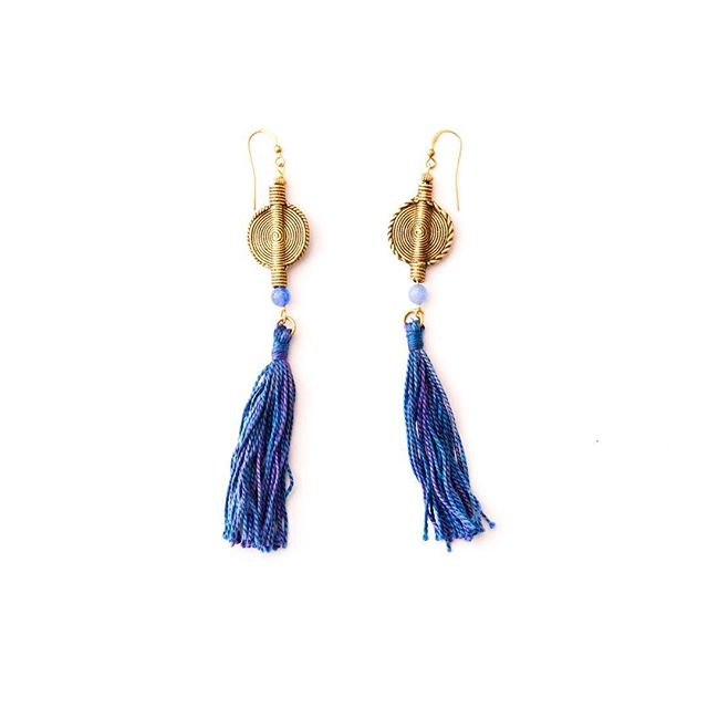 Handmade Statement Earrings 🌿 shop our handmade tassel earrings online now 👉🏽 www.tuluandblue.com