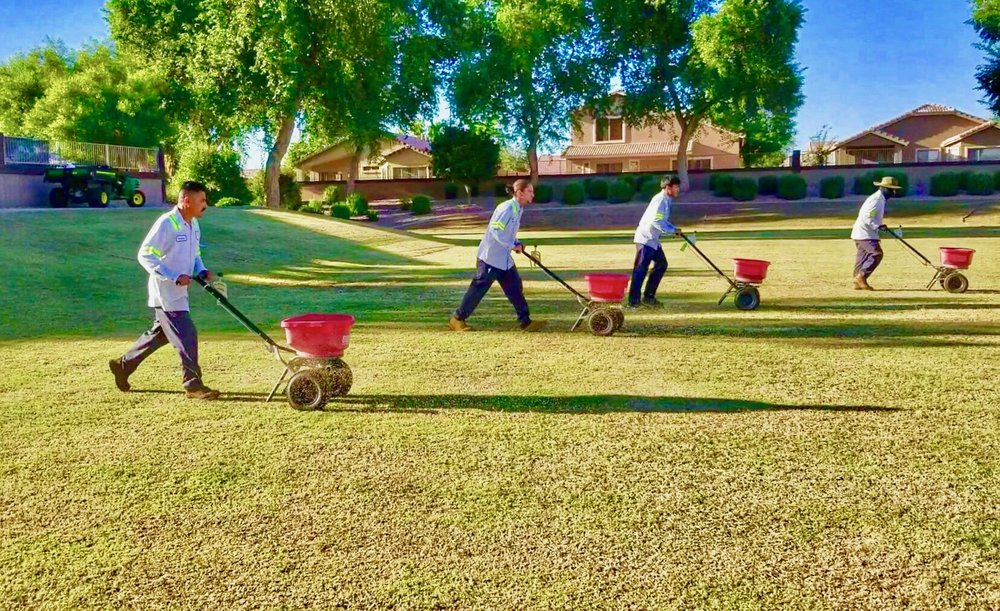Overseeding is in full force! Our crews are out putting down over 200,000 pounds of seed in our Homeowners Associations across the valley this week. #ProQualLandscaping #ProQualStyle #ProQualGreen #Overseed