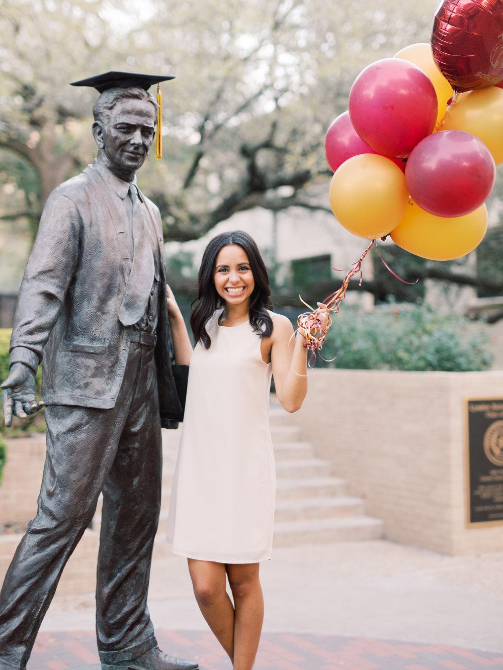 Tessa with LBJ Statue