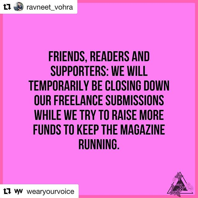 CALL TO ACTION🚨 To my Fellow POC + Desi's Help keep this publication robust. Any amount helps. @wearyourvoice gives voice to important and often marginalized causes. Support in any way that you can 💗#endwhitesupremacy Repost @ravneet_vohra with @get_repost ・・・ Desi's with means, are you going to step it up and support @wearyourvoice or scroll right by this pretending that you didn't read it? I see you and the real beauty of WYV & why we're calling you in is that we see you too. We give you voice in a space that didn't always prioritize our voices. More so, we give voice to those amongst us who don't share the privileges we do. We support the voices of those amongst us that are most marginalized. Unfortunately, my experience thus far is investors don't see the need to give Black / brown folks a voice. I do. And that's why I put everything i have and more into building this platform. It's not for me. It's for *us*. Our work is incredibly important/ necessary and vital.#endwhitesupremacy #solidarity #united #support #woc #poc #feminism #showup #desi #intersectionality