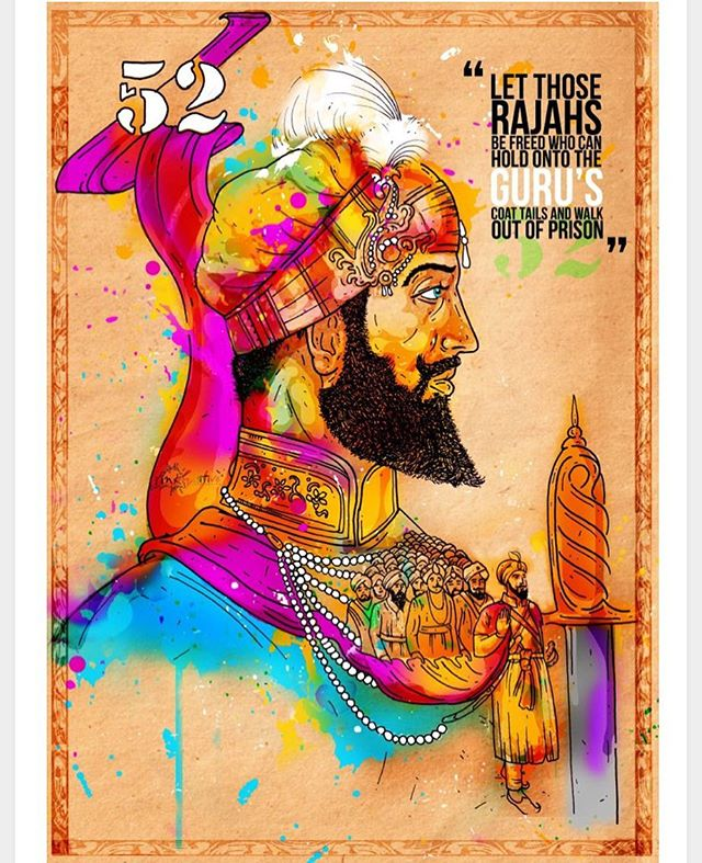 🔥❤️ May Love and Light Guide us. Dhan Guru Hargobind Singh ji.  Happy Bandhi Chorh Divas and Happy Diwali Artwork @inkquisitive  #sikh #unityindiversity #diversity #light #love #diwali #bandichordivas