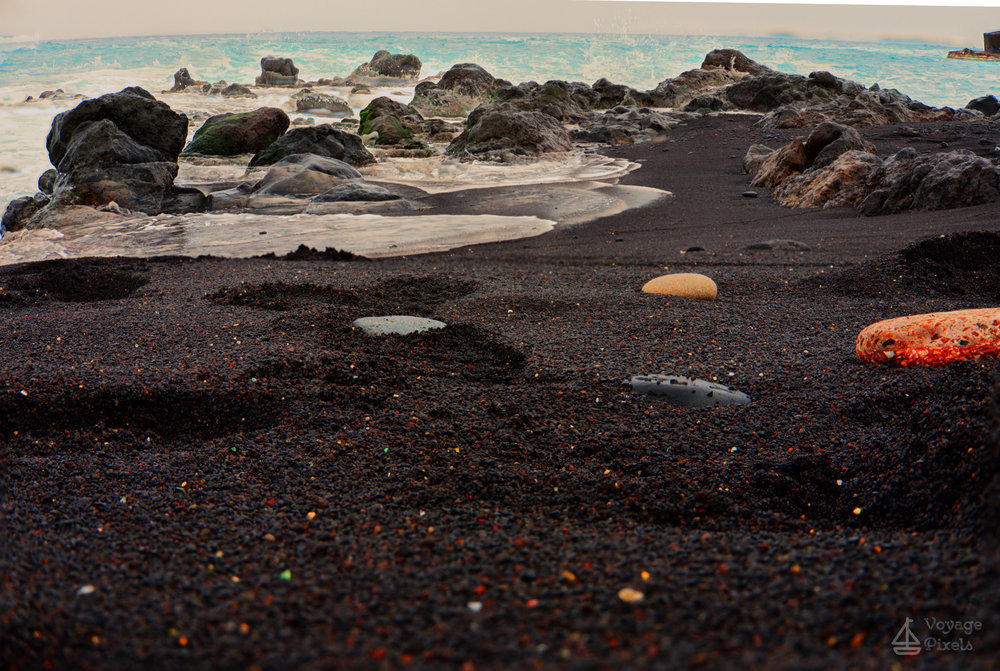The black sand of the beach in Puerto de la Cruz