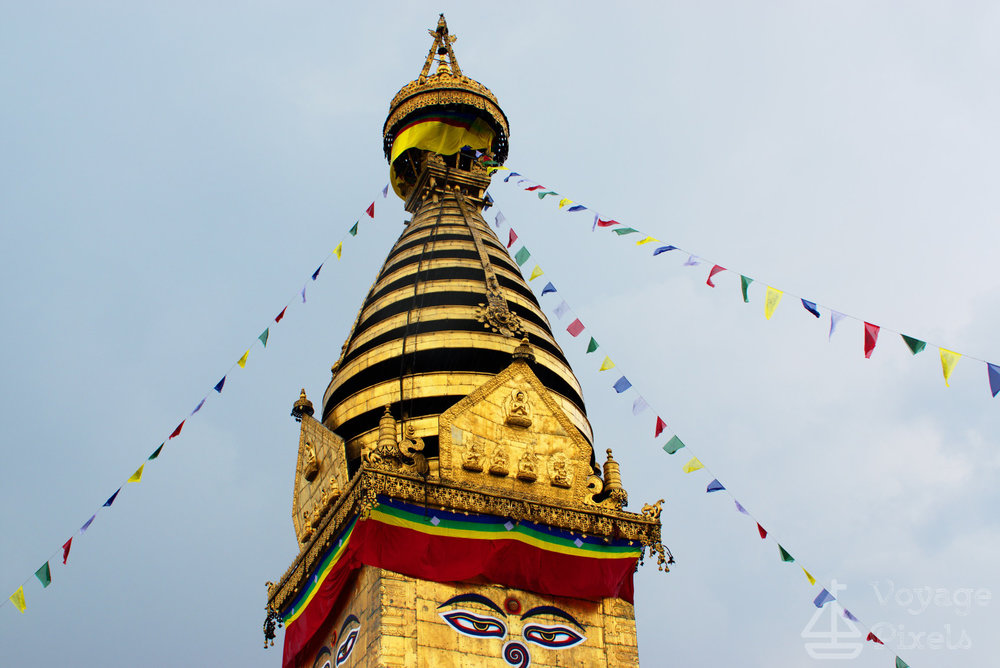 Top of  Swayambhunath on a rainy day