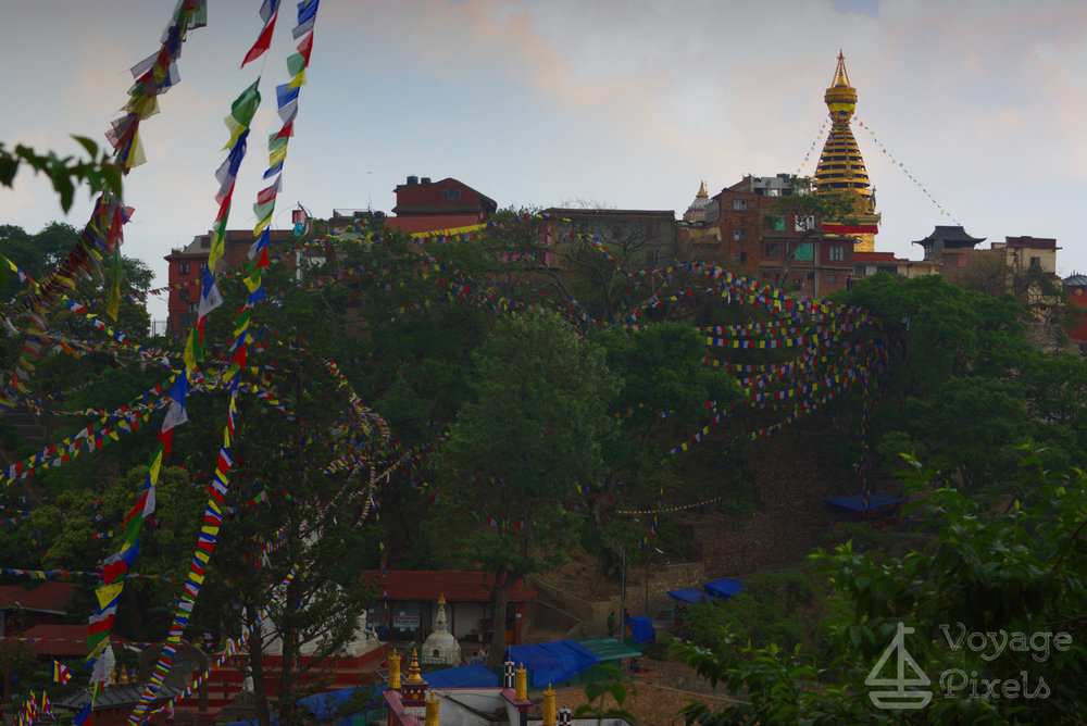 The winds swirl as rain pours onto  Swayambhunath