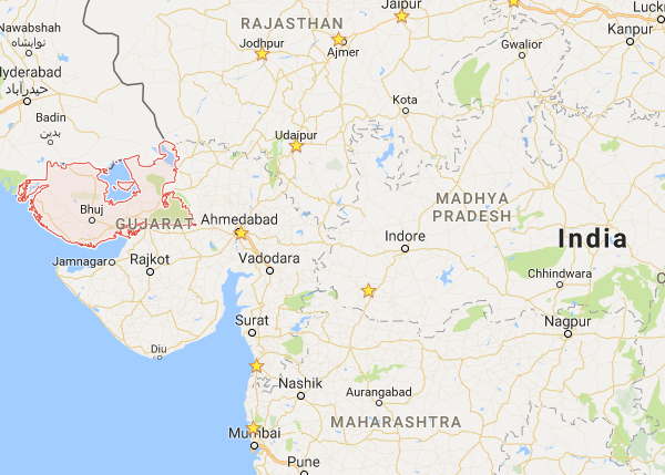 Gujarat state of India / google maps