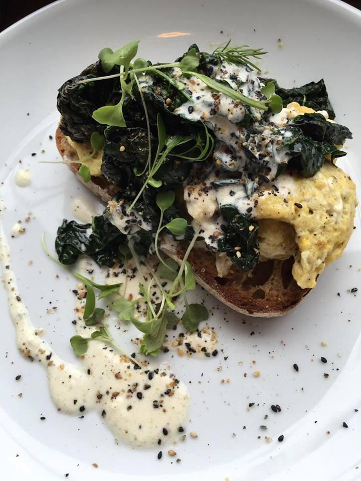 Eggs with seasonal greens