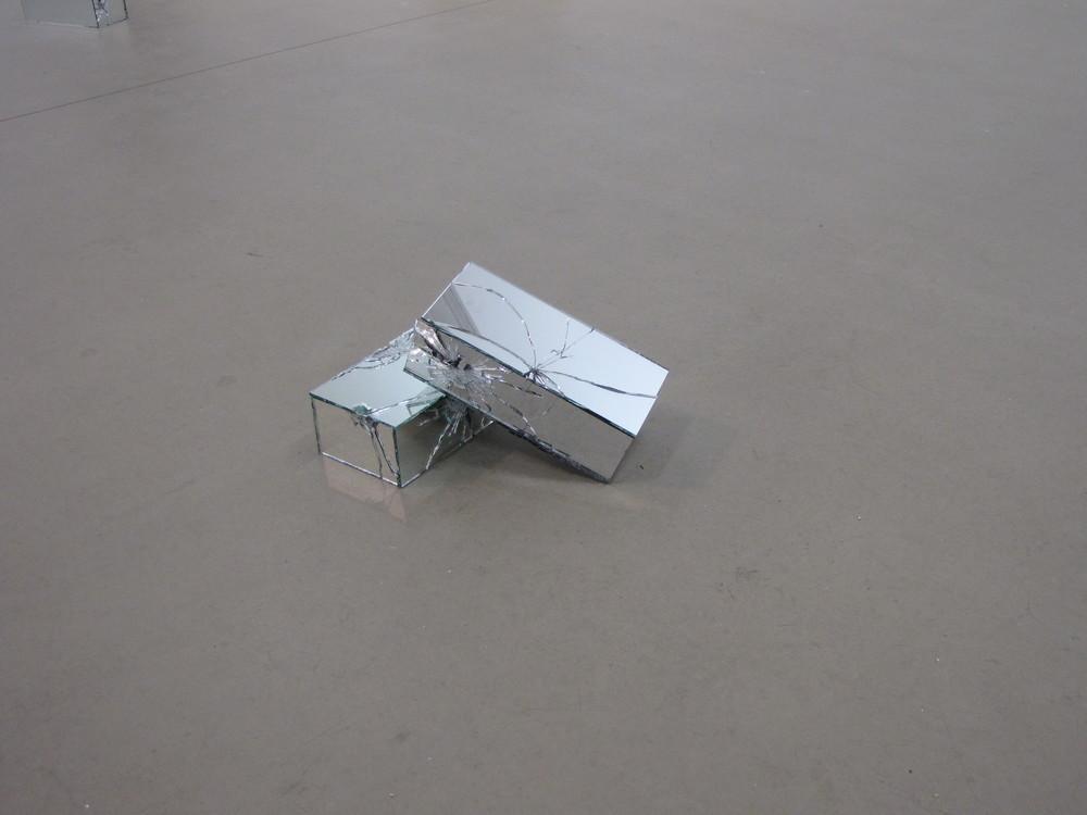 "More Like a Window Than Ajar , each brick = 2.5"" x 3.75"" x 8.75"", mirror, concrete brick,silicon, 2010"