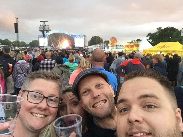 "Band ""selfie"" during #Queen at @isleofwightfest #isleofwightfestival2016"