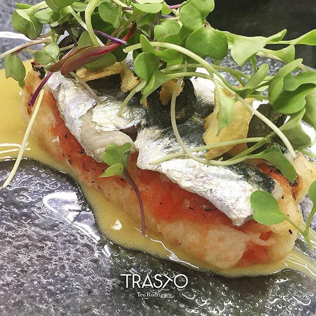 Torrija de pan tumaca con anchoa marinada, chips de ajo y oliva negra. Suena bien, no? Pues está rico rico... 😉👌 Este es uno de los entrantes del menú degustación de este mes ¡anímate a probarlo! . #MenuDegustacionTrasto #TrastoRestaurante #Valladolid #Trastoplatos #anchoa #RestaurantesValladolid #delicious #instafood #foodpics #cocinadeautor #yummy