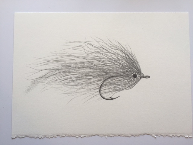 "Bucktail Deceiver, pencil on paper, 7"" x 10"""