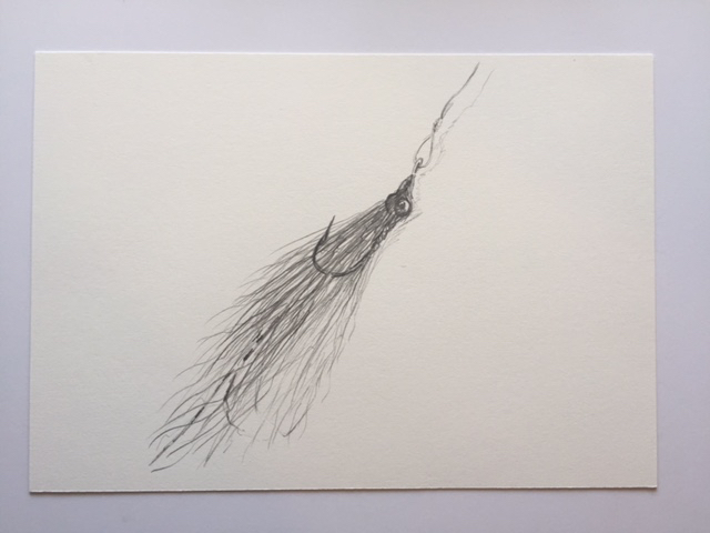 "Clouser Minnow, pencil on paper, 7"" x 10"""