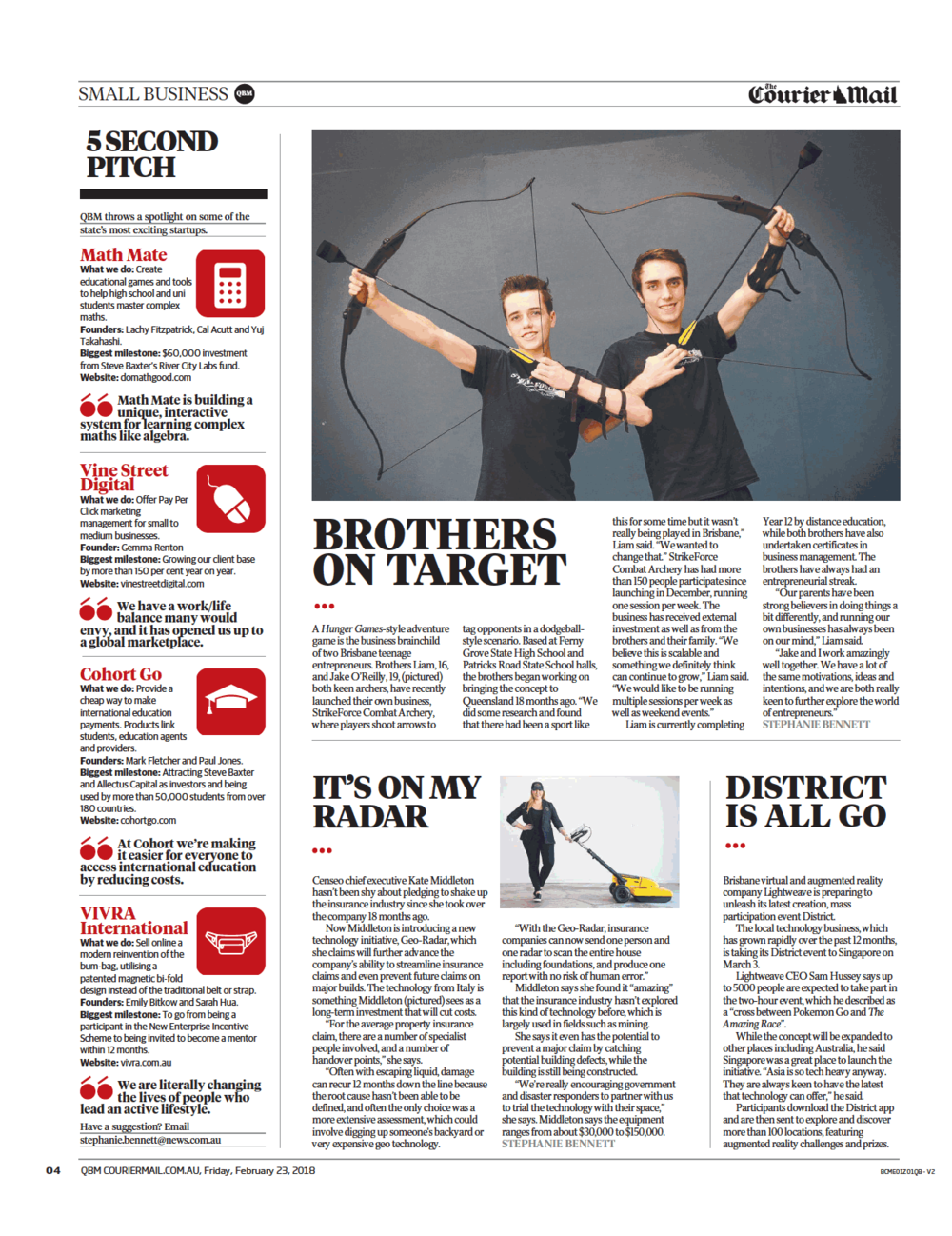 Math Mate in Courier Mail Queensland Business Monthly Magazine Fri 23 Feb 2018.png