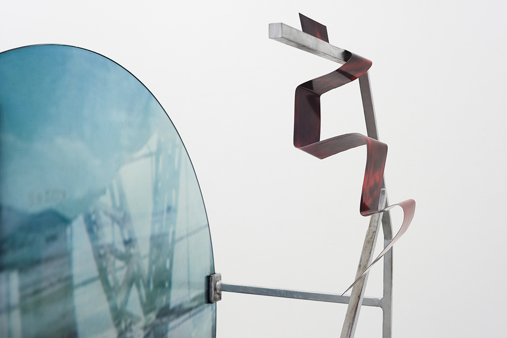 4 from the Higgs Boson series, enamel, steel, glass , vinyl, paper, curved plywood. Dimensions variable, 2013.jpg