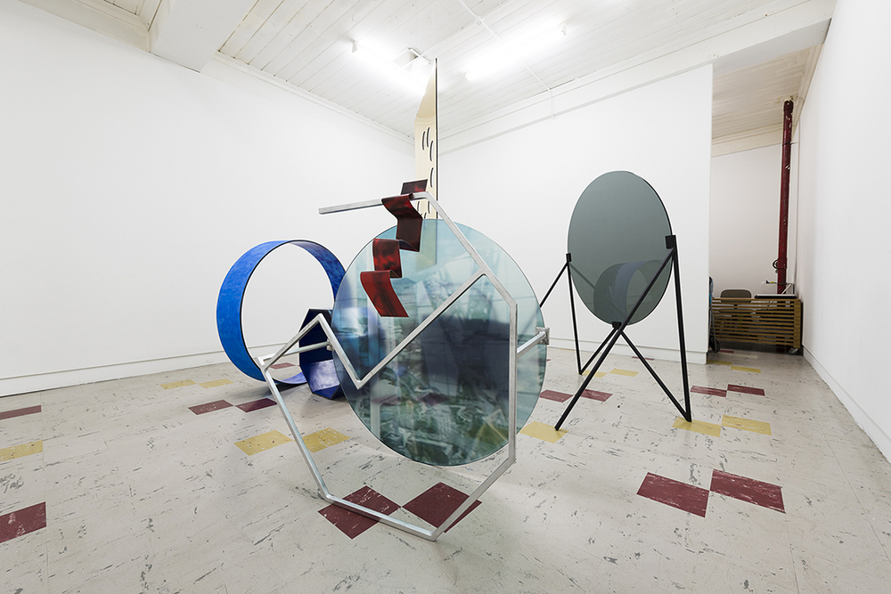 3 From the Higgs Boson series, enamel, steel, glass , vinyl, paper, curved plywood. Dimensions variable, 2013.jpg